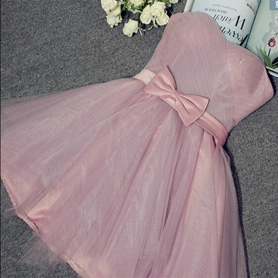 Cute Sweetheart Sleeveless A-line Homecoming Dress | Short Bow Party Gown_2