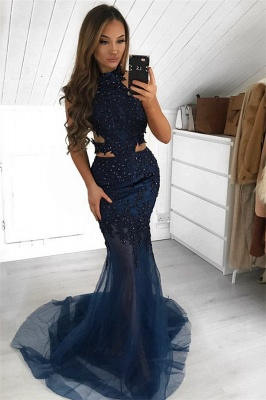Gorgeous Halter Sleeveless Evening Gown | 2020 Sheer-Tulle Mermaid Prom Dress BC2377_2
