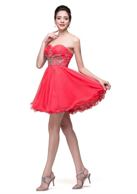 Lovely Watermelon Sweetheart Homeocming Dress 2020 Short With Crystals_3