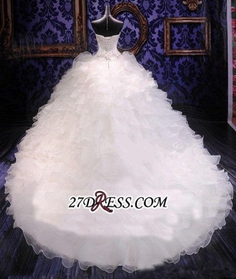 Ball-Gown White Long-Train Beading Lace-up Sweetheart Ruffles Gorgeous Wedding Dress_2