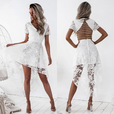 Elegant Short Sleeve Lace Homecoming Dress 2020 Hi-Lo Party Gowns_5