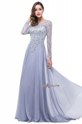 2020 Appliques Long-Sleeves Newest Beadings A-Line Prom Dress_5