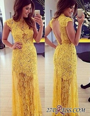 Modern Long Yellow Sleeveless High-Neck Lace A-line Prom Dress BA9014_2