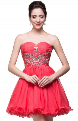 Lovely Watermelon Sweetheart Homeocming Dress 2020 Short With Crystals_1