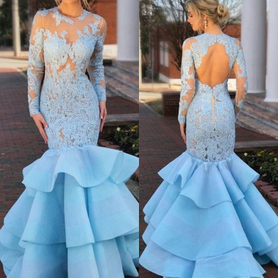 Gorgeous Long Sleeve Lace Evening Gown | 2020 Mermaid Ruffles Lace Prom Dress_3
