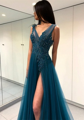 Gorgeous Scoop Long Evening Dress | 2020 Forml Dress With Slit On Sale_3