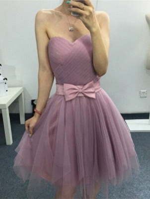 Cute Sweetheart Sleeveless A-line Homecoming Dress | Short Bow Party Gown_1