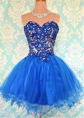 Modern Sweetheart Sleeveless Short Homecoming Dress With Appliques_1