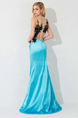 Sexy Mermaid Front Split Evening Dress Lace Appliques_3