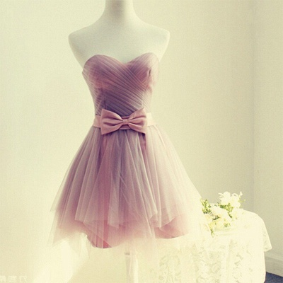 Cute Sweetheart Sleeveless A-line Homecoming Dress | Short Bow Party Gown_3