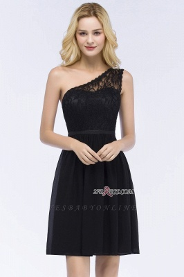 Homecoming Dresses Chiffon Top Short A-line Lace One-shoulder with Sash_5
