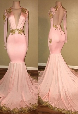 Gorgeous Long Sleeve V-Neck Prom Dress 2020 Mermaid With Gold Crystal_1
