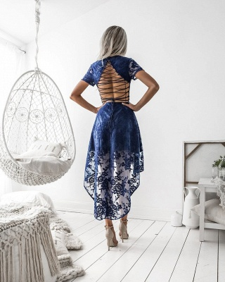 Elegant Short Sleeve Lace Homecoming Dress 2020 Hi-Lo Party Gowns_3