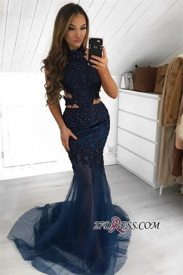 Gorgeous Halter Sleeveless Evening Gown | 2020 Sheer-Tulle Mermaid Prom Dress BC2377_1