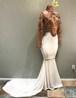 2020 Luxurious High Neck Long Sleeves Mermaid Prom Gown | Appliques Beadings Evening Dress On Sale_2