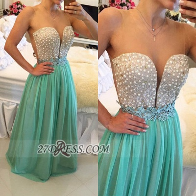 Sexy Illusion Sleeveless Long Evening Dress Pearls Appliques Chiffon Prom Gown BT0_3