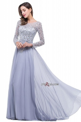 2020 Appliques Long-Sleeves Newest Beadings A-Line Prom Dress_1