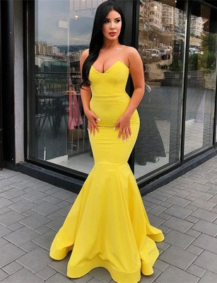 Elegant Sweetheart Yellow Prom Dresses | 2020 Mermaid Long Evening Gowns Bc0697_1