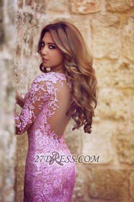 Modern Long Sleeve Mermaid Prom Dress Floor-length With Lace Appliques_3