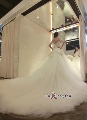2020 Tulle Beads Newest Lace-Appliques Off-the-shoulder Long-Train Wedding Dress_1