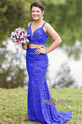 Two-Pieces Spaghetti-Straps Mermaid Excellent Evening Dresses_3
