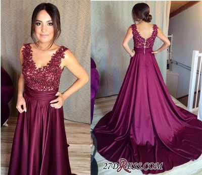 Sleeveless Appliques Zipper Gorgeous Lace Prom Dress BA7351_2