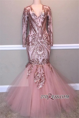 Gorgeous Long Sleeve V-Neck Sequins Prom Dress | 2020 Mermaid Tulle Evening Gowns_1