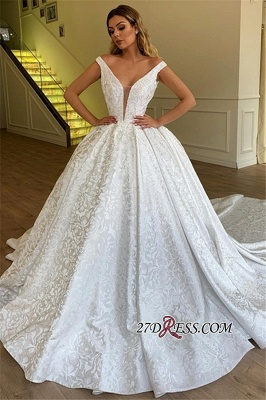 Ball Gown Off-the-Shoulder Bridal Gown | Sexy Strapless Appliques Wedding Dresses_2