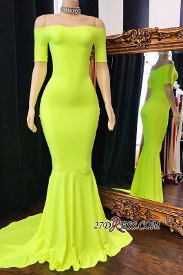 Sweep-Train Mermaid Excellent Off-the-shoulder Prom Dresses_1