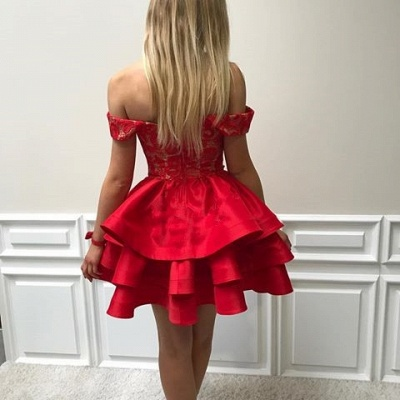 Lace Short Ruffles Off-the-shoulder Modest Red Homecoming Dress_4