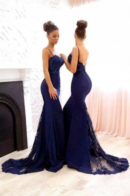 Gorgeous Spaghetti Strap Navy Lace Mermaid Bridesmaid Dress on Sale_4