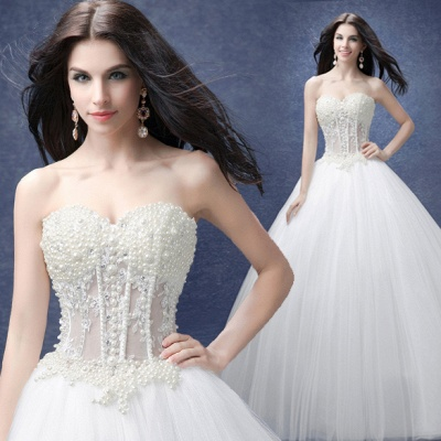 Glamorous Sweetheart Pearls Wedding Dresses 2020 Ball Gown Tulle Bridal Gown_3