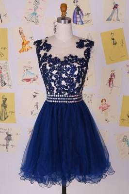 Elegant Illusion Cap Sleeve Short Cocktail Dress With Appliques Beadings_1