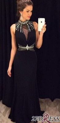 Crystal Sleeveless Sheath Black High-Neck Natural Long Prom Dresses AP0_2