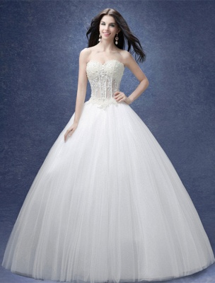 Glamorous Sweetheart Pearls Wedding Dresses 2020 Ball Gown Tulle Bridal Gown_1