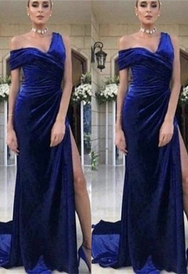 Gorgeous One-Shoulder Ruched Prom Dress | Mermaid Long Evening Gowns With Split BC0501_5