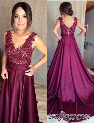 Sleeveless Appliques Zipper Gorgeous Lace Prom Dress BA7351_3