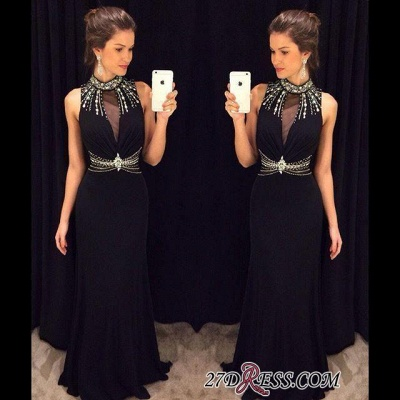 Crystal Sleeveless Sheath Black High-Neck Natural Long Prom Dresses AP0_1