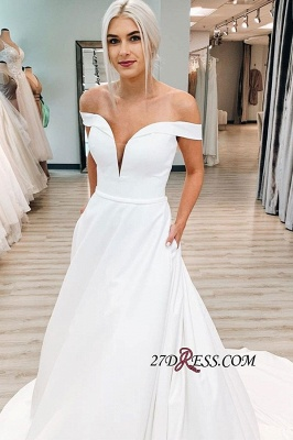 Graceful A-line Off-the-shoulder V-neck Wedding Dress With-belt