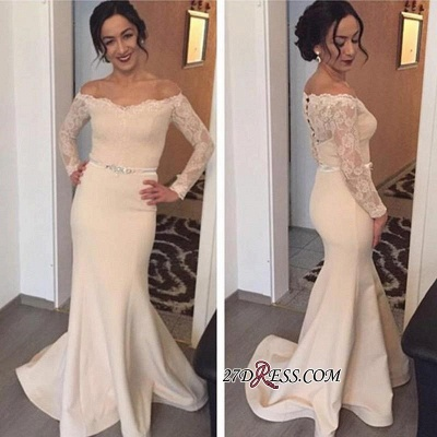 Lace Long Coverd-Button Off-the-Shoulder Floor-Length Sexy Sleeves Evening Gown_1