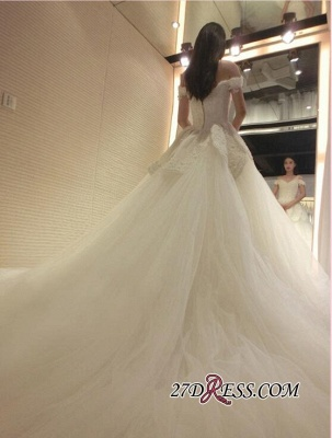 2020 Tulle Beads Newest Lace-Appliques Off-the-shoulder Long-Train Wedding Dress_2
