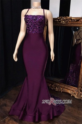 Sexy Spaghetti-Straps Sequins Mermaid Prom Dresses_1