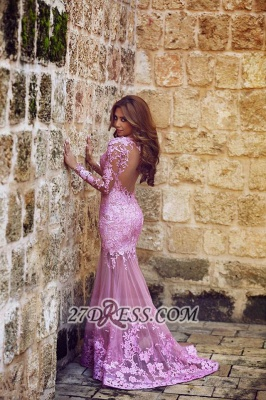 Modern Long Sleeve Mermaid Prom Dress Floor-length With Lace Appliques_1