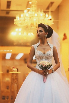 gorgeous cap sleeve tulle lace wedding dress with train_1