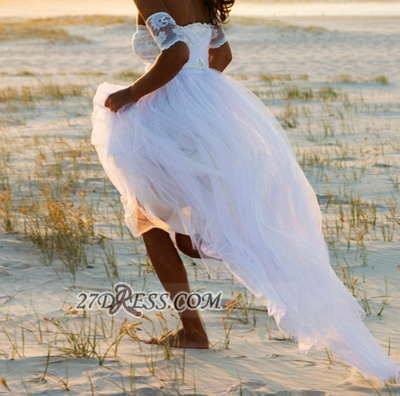 Elegant Off-the-shoulder Tulle Long Beach Wedding Dress With Lace Appliques_3
