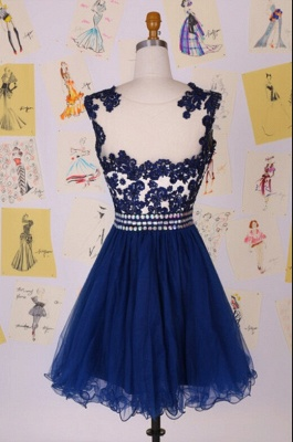 Elegant Illusion Cap Sleeve Short Cocktail Dress With Appliques Beadings_2