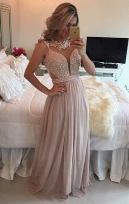Elegant High Neck Sleeveless Long Prom Dress Lace Pearls Chiffon Evening Gowns BT0_1