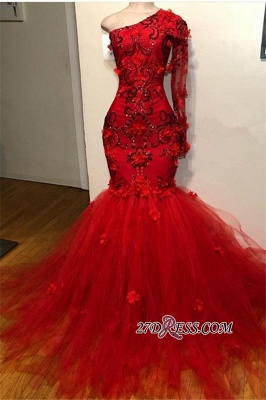 Elegant Long-Sleeves Appliques Mermaid Prom Dress | Red One-Shoulder Tulle Prom Gown_1