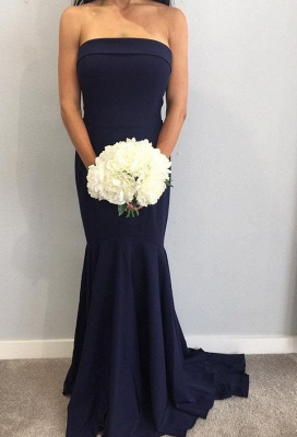 Fashion Strapless Sleeveless Mermaid Maid Of Hornor Dress | Navy Bridesmaid Dress On Sale_1
