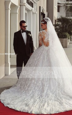 Train Long Sleeve Lace Wedding Dresses with Sweep New Arrival Ball Gown Bridal Gown_2